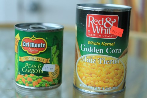 This is the best price we have found for canned veg, at $1.10US for 432g. Have seen it as high as $1.80US. Remember to check the expiry dates.