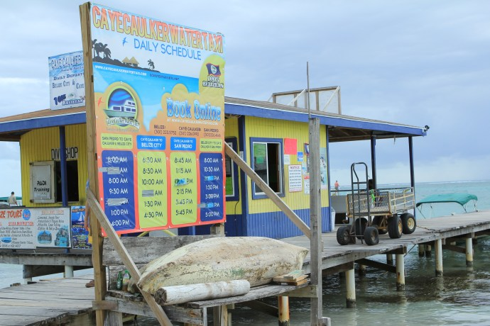 Caye Caulker water taxi stand.