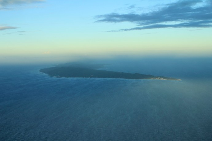 Our first glimpse over the pilots shoulder of the island of Roatan, Honduras.