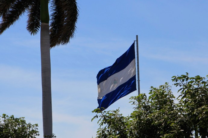 Nicaraguan flag flying proudly over Managua.
