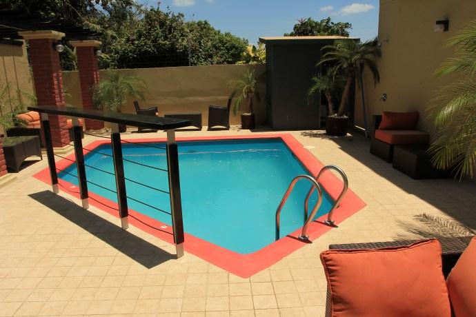 The pool area at the Wayak Hotel in Managua, Nicaragua.