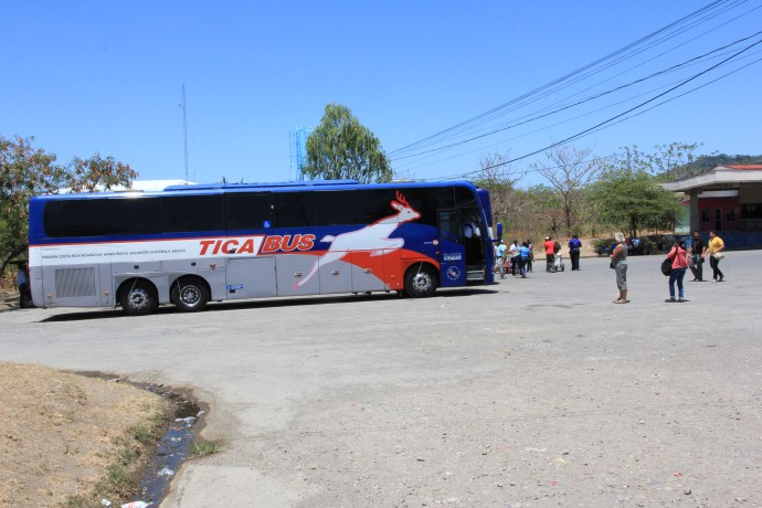Our bus waiting paperwork to be completed at border crossing.