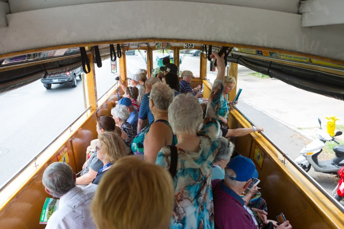 Packed in the Waikiki Trolley Tour around Honolulu. The full tourist experience.