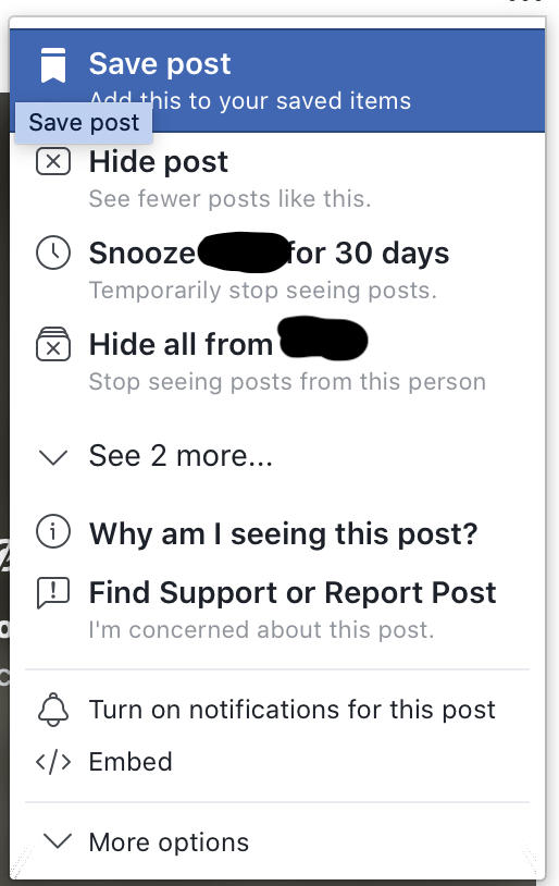 Facebook Snooze Feature