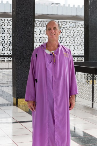 Myself in the borrowed gown. A bit warm with your normal clothes underneath.
