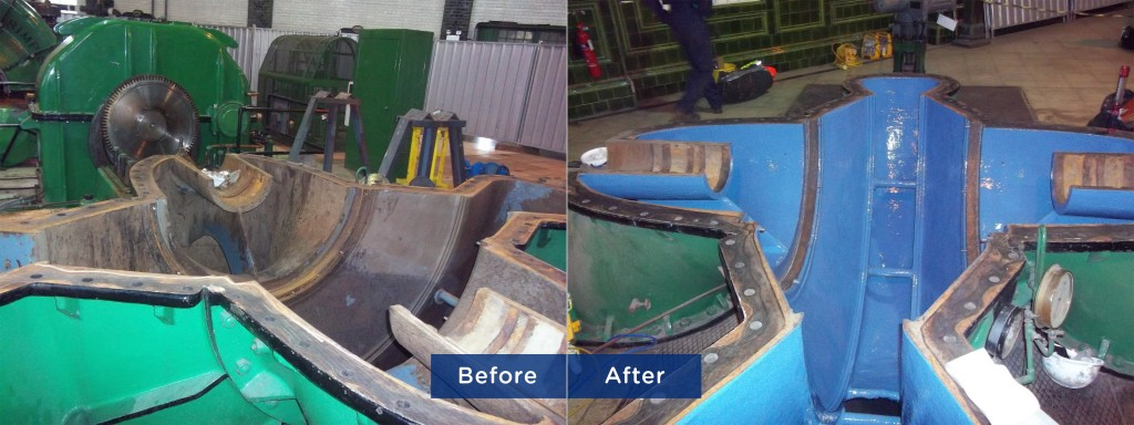 Image 1-Pump casing before and after Belzona application