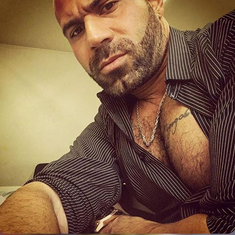 Handsome man's hairy pecs and cleavage peeking out from an open shirt.