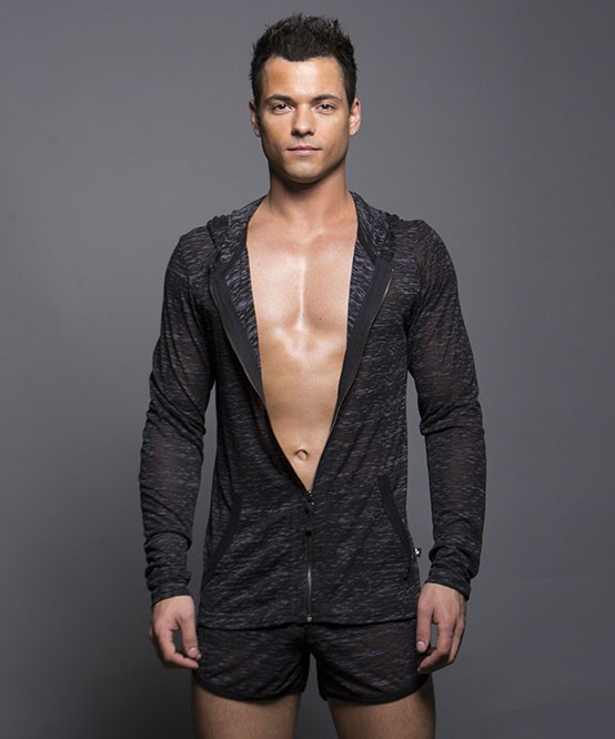 Andrew Christian model in Touch Skinny Hoodie.