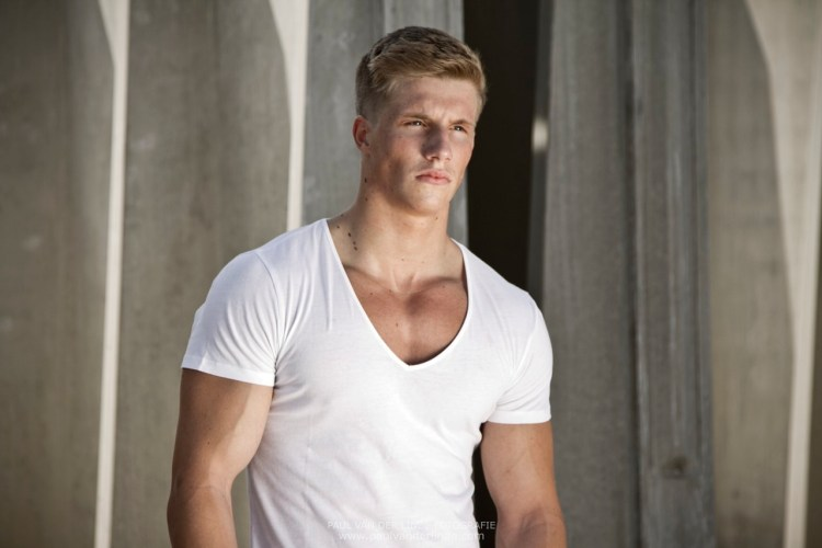 "Dominik ""Nick"" Bettray, 2/10/2018's Hunk Of The Day, in a sexy white V-neck"
