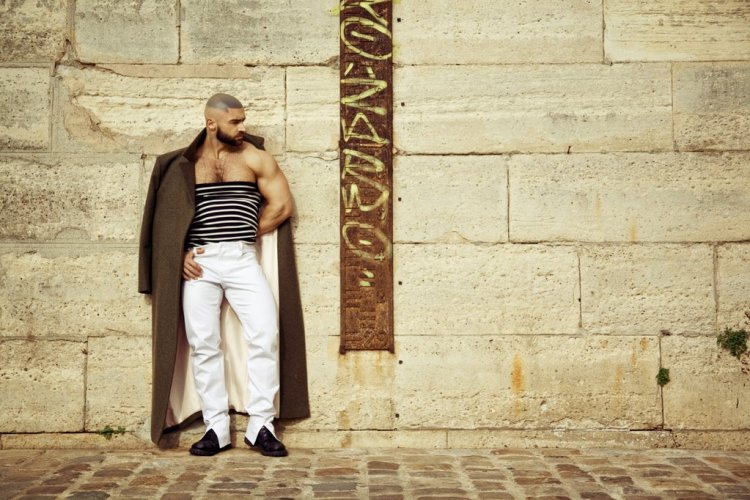 François Sagat full body pose tube top cleavage