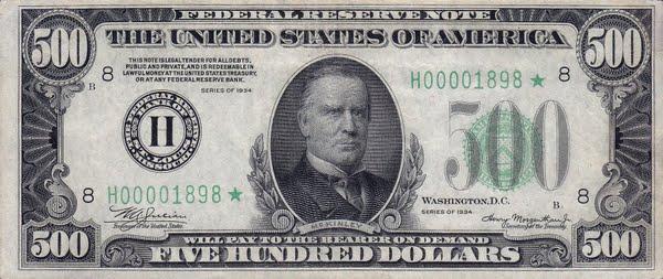 American 500 Dollar Bill Actual Size Image