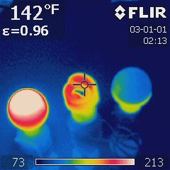 thermal images of light bulbs
