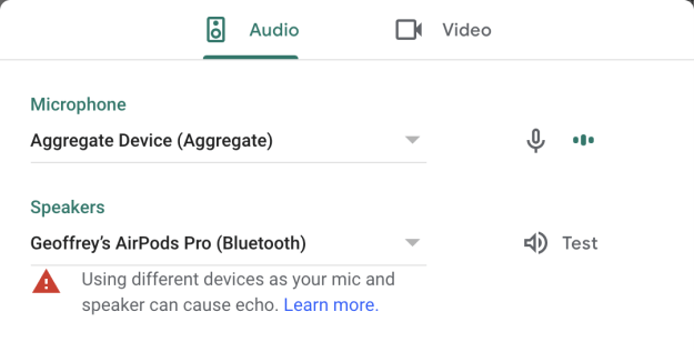 Google Meet Audio Configuration