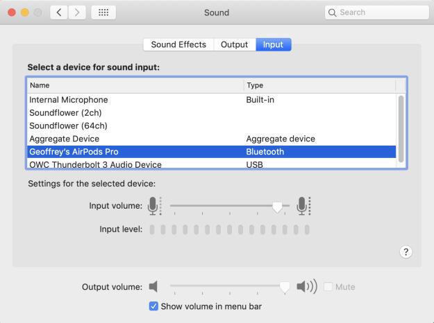 Sound Input Configuration
