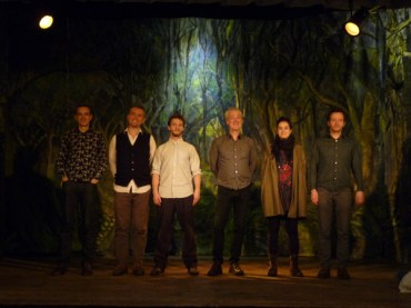On stage with Three Cane Whale after Edward Thomas concert