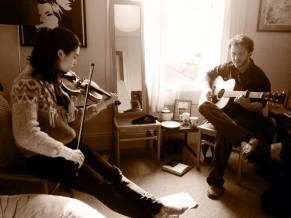 Rehearsing at Tim's place in Bath for the In Pursuit Of Spring tour