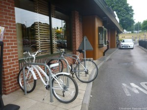 Bicycle racks in the drive-thru lane at McDonald's in Basingstoke.