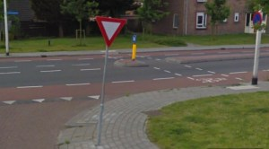 Streetview - intersection in Assen, The Netherlands