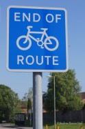 The present cycle route on Weyhill Road, Andover abruptly ends.