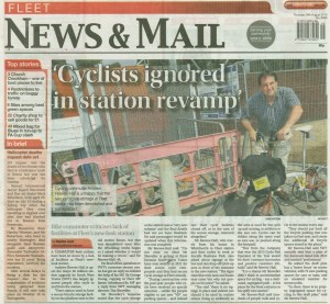 The issue with bicycles and the Fleet train station redevelopment made the front page of the Fleet newspaper on 28 August 2014. Click to read story online.