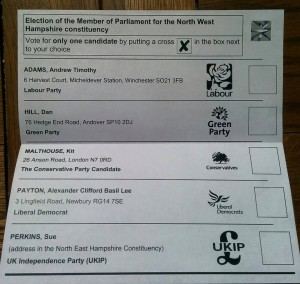 Ballot paper for May 7 2015 general election