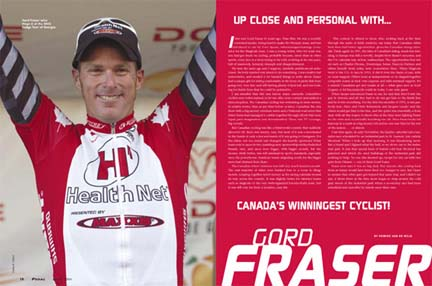 Canada's Winningest Rider Gord Fraser (Health Net p/b Maxxis) interview in Pedal Annual 2006 issue.[P] Casey B. Gibson