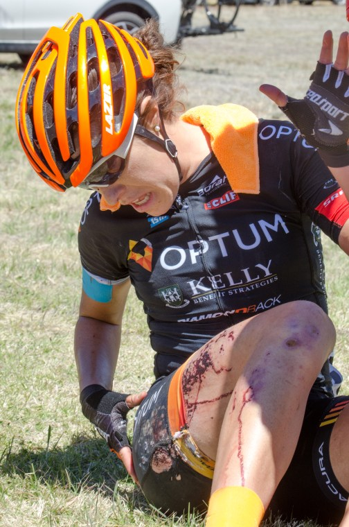 Annie Ewart (Can) Optum Pro Cycling crashes [P] Tour of the Gila
