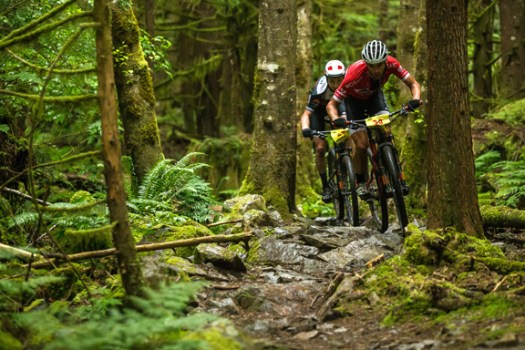 Craig Richey leads out Quinn Mosberg into the last few sections of singletrack. [P] Fraser Britton