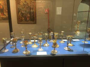 Chalices in the museum for the Basilica of St. Nicolas