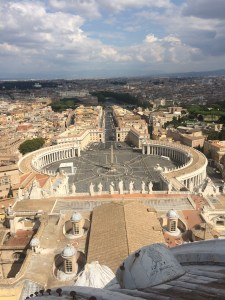St. Peter's Square from the top of the Cupola and 320 steps of climbing.