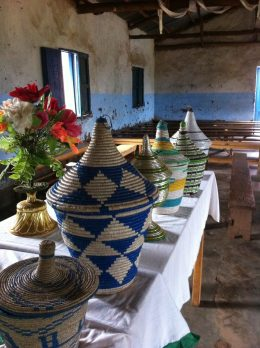 Collection baskets in church
