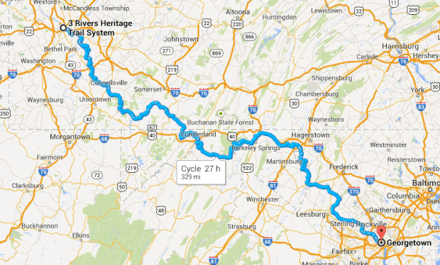 Pittsburgh to DC via GAP and C+O