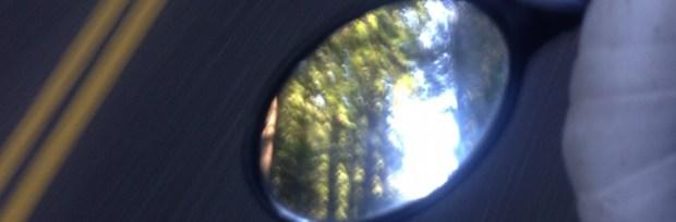 bike touring redwoods in mirror