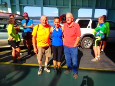 Before the ride: Trish with her dad, Steve and grandpa, Perry.