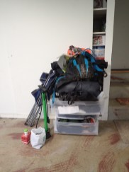 My bikepacking pile - VERY organized...
