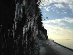 Ice on the seawall