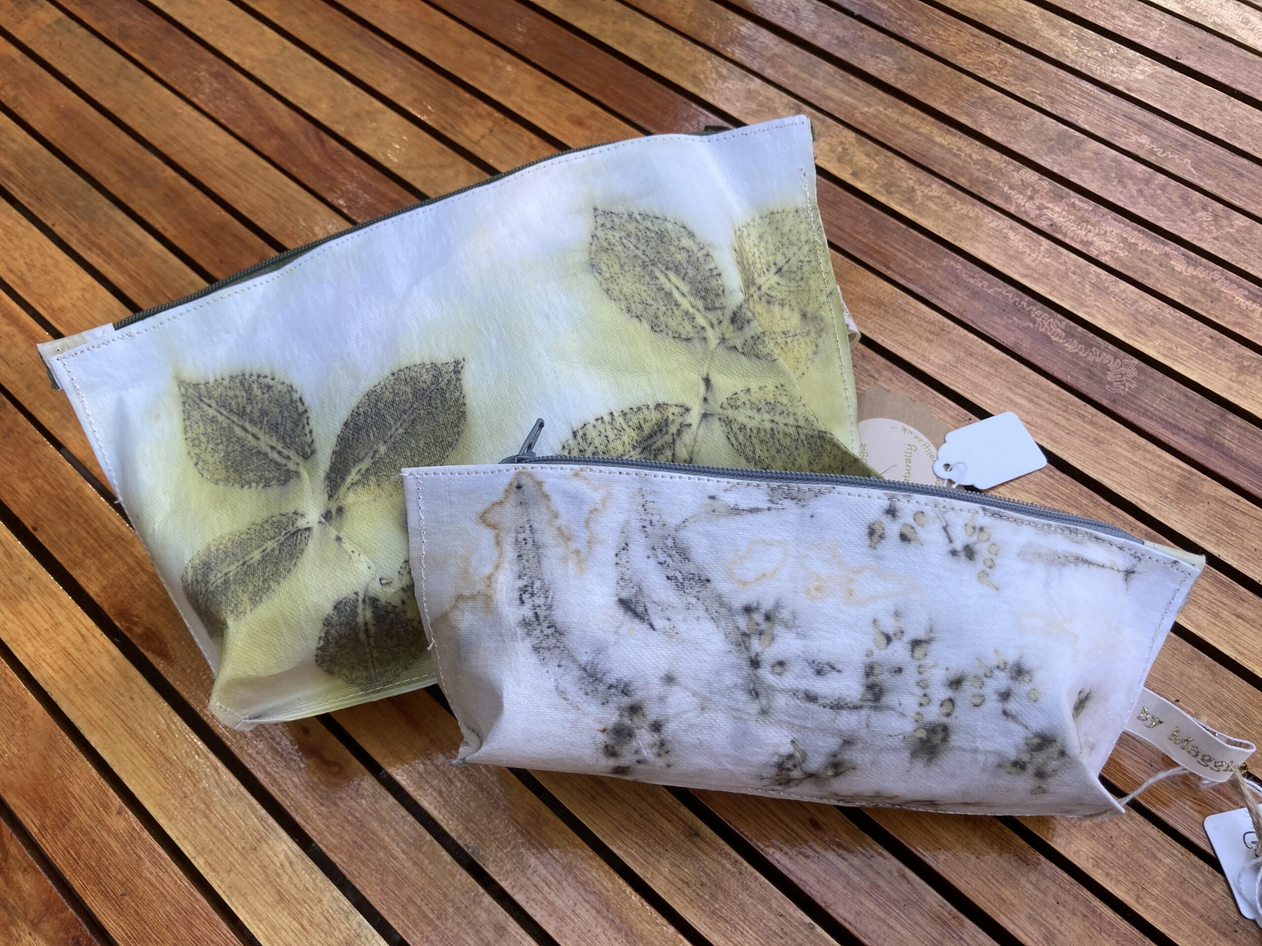By Maggie Naturally Vegan [paper] leather zipped pouches, ecoprinted with roses and eucalyptus