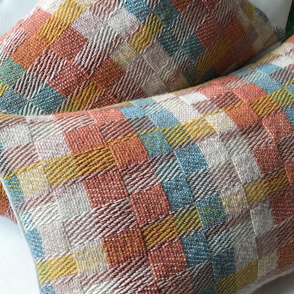 Studio Milena, Handwoven textile cushions, Contemporary block design, Duckegg blue, Nectar Yellow, Coral Orange, Cream