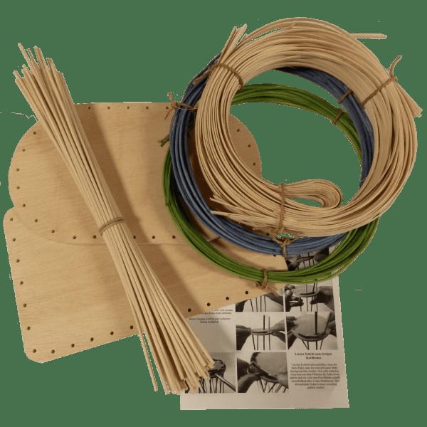 Korbflechtset Nr.13 Flechtboden Peddigschiene Peddigrohr blau+grün Staken