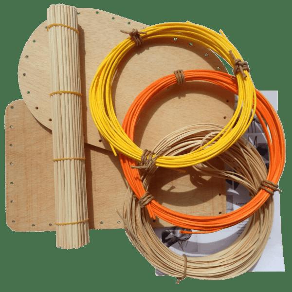 Korbflechtset Nr15 Flechtboden Peddigschiene Peddigrohr gelb orange Staken