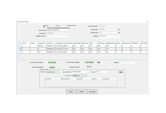 Payment to party screen image of Peddle Plus billing software
