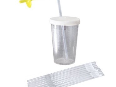 cup -ARK's Sip-Tip with One Way Disposable Straws