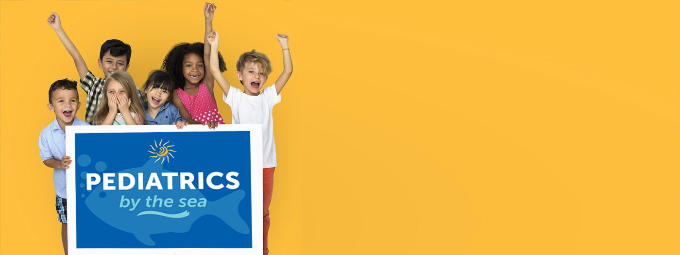 "Group of kids hold ""Pediatrics by the Sea"" logo in front of a yellow background"