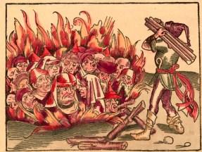 """""""Verbrennung von Juden als Ketzer"""", Holzschnitt, koloriert, von Michael Wolgemut (1434-1519) , aus: Hartmann Schedel, Liber Chronicarum (Weltchronik), Nürnberg (Anton Koberger) 1493."""