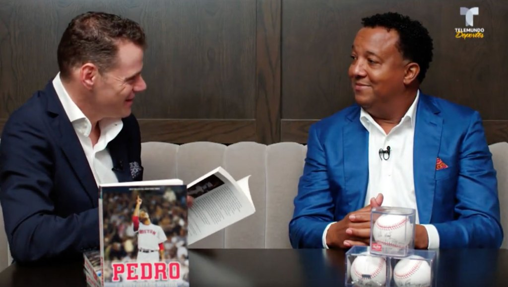 Pedro Martinez talks about his book PEDRO, now available in Spanish, during the launch of the book in Miami: