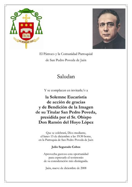 Invitación a la Eucaristía de Bendición de la Imagen de San Pedro Poveda