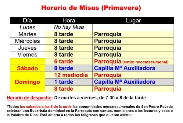 Horario Misas Primavera 2015