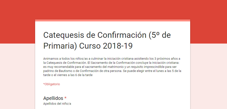 Inscripción en 5º de Primaria en 2018/19 (Confirmación)