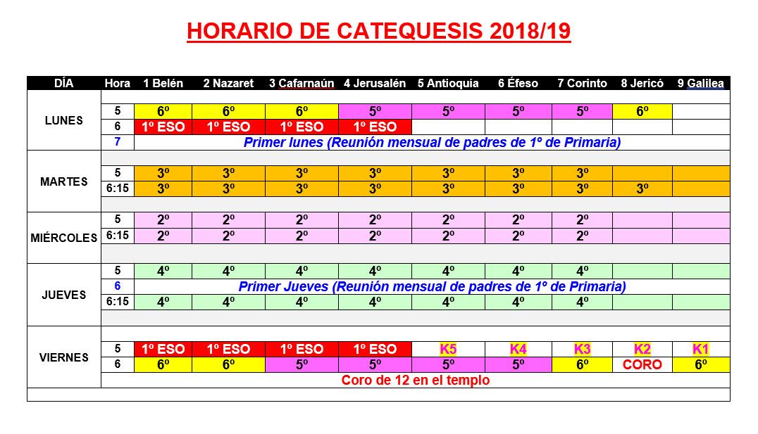 Horario de Catequesis 2018/19
