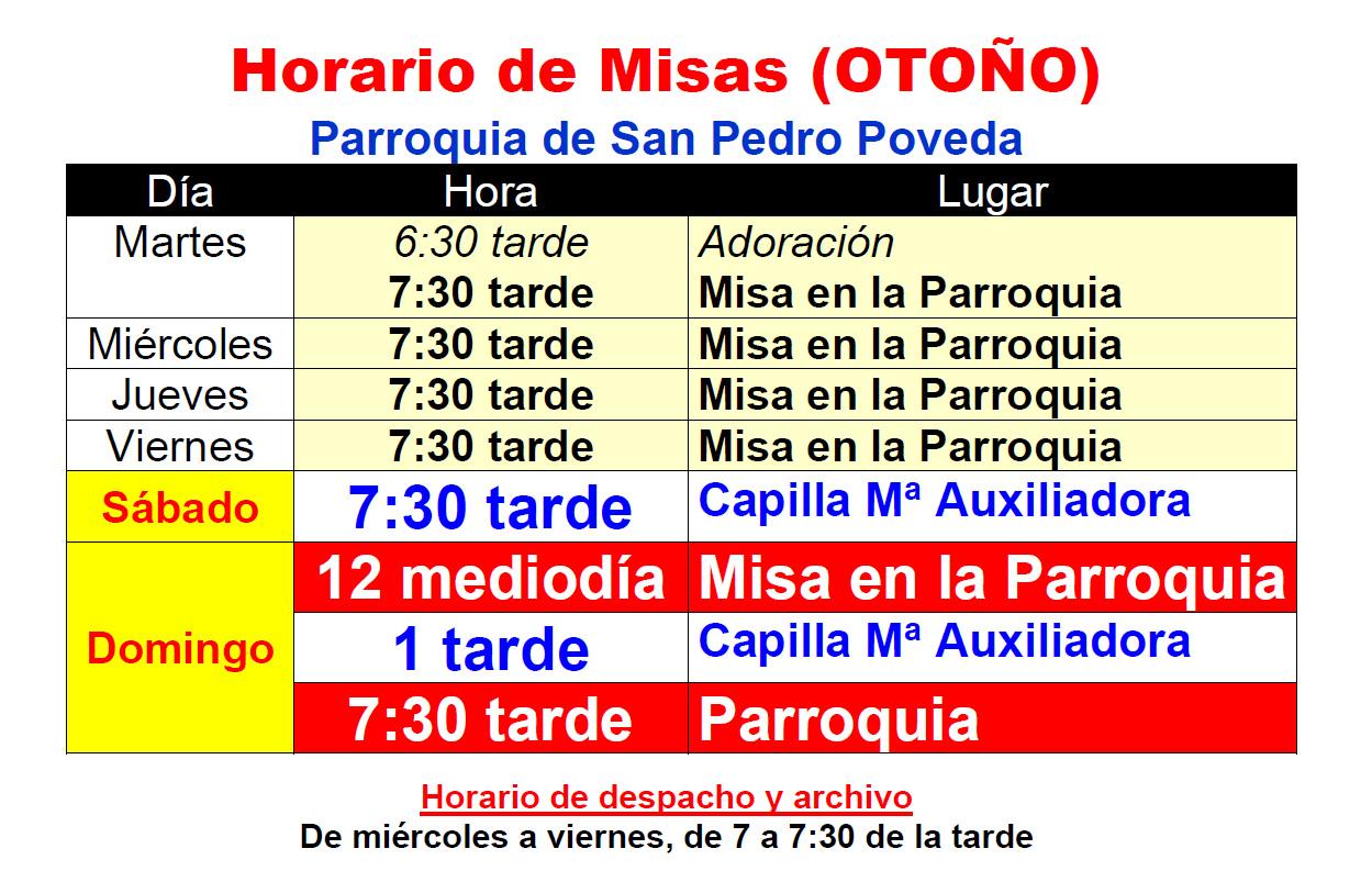 Horario de Misas en Otoño